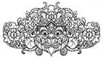 Barong Head line art