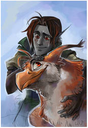 Elf and gryphon