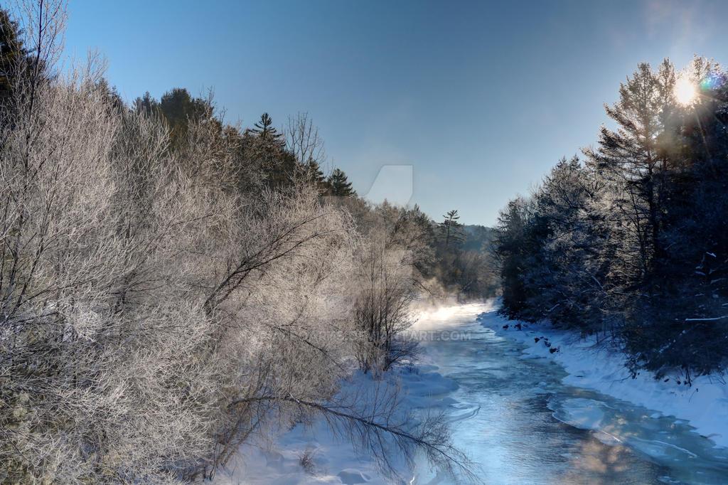 River Mist - Ashuelot River Gilsum New hampshire by AlpoArts