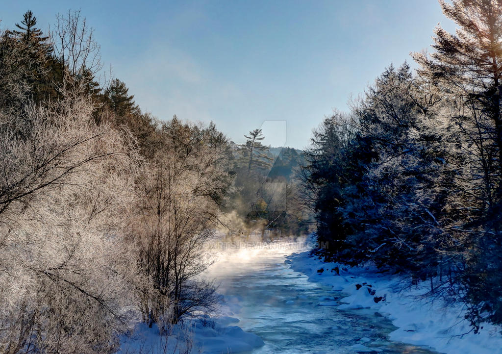 River Mist #2 - Ashuelot River, Gilsum NH by AlpoArts