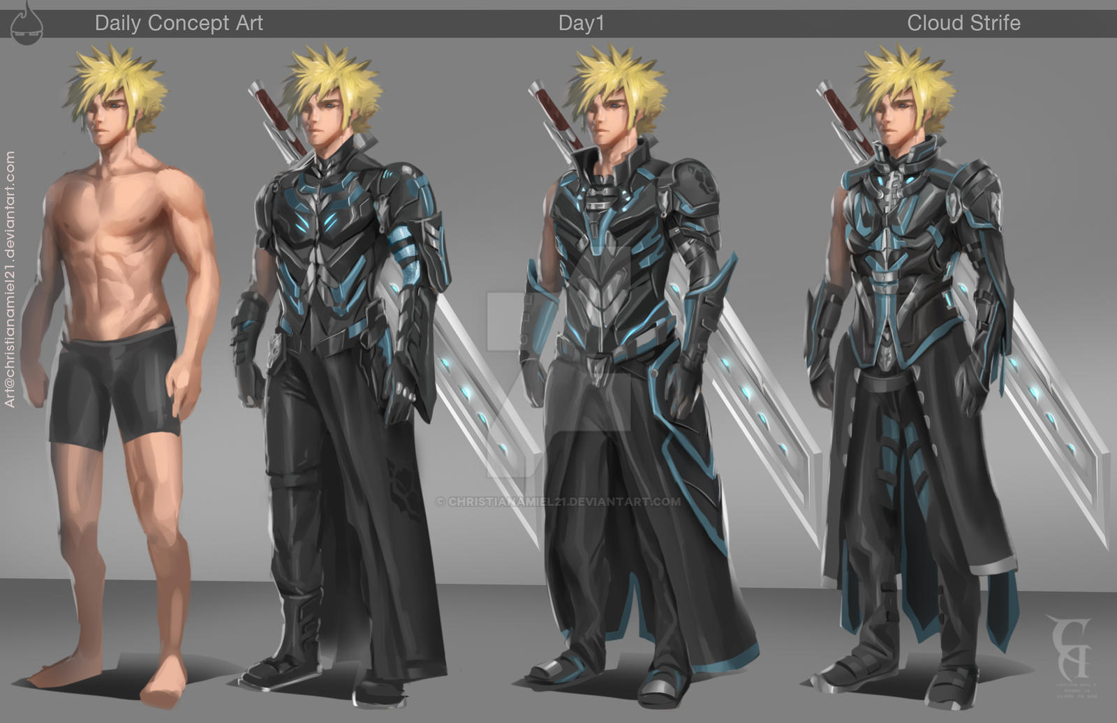 Concept Art Day 01 Cloud Strife By Christianamiel21 On