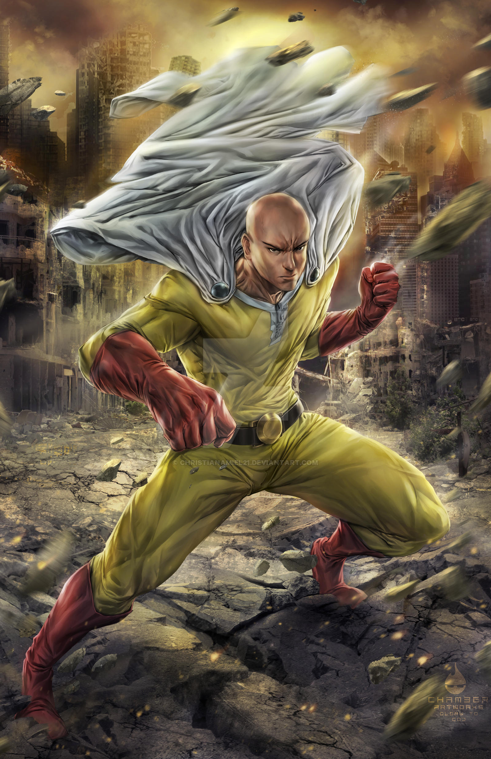 Christianamiel21 One Punch Man Saitama Fanart By