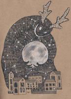Horned beast lulls the moon by AviFlatcher