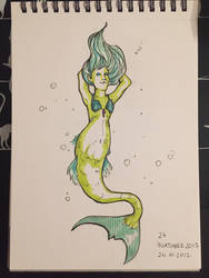Inktober Day 24 - Mermaid by Wirrer