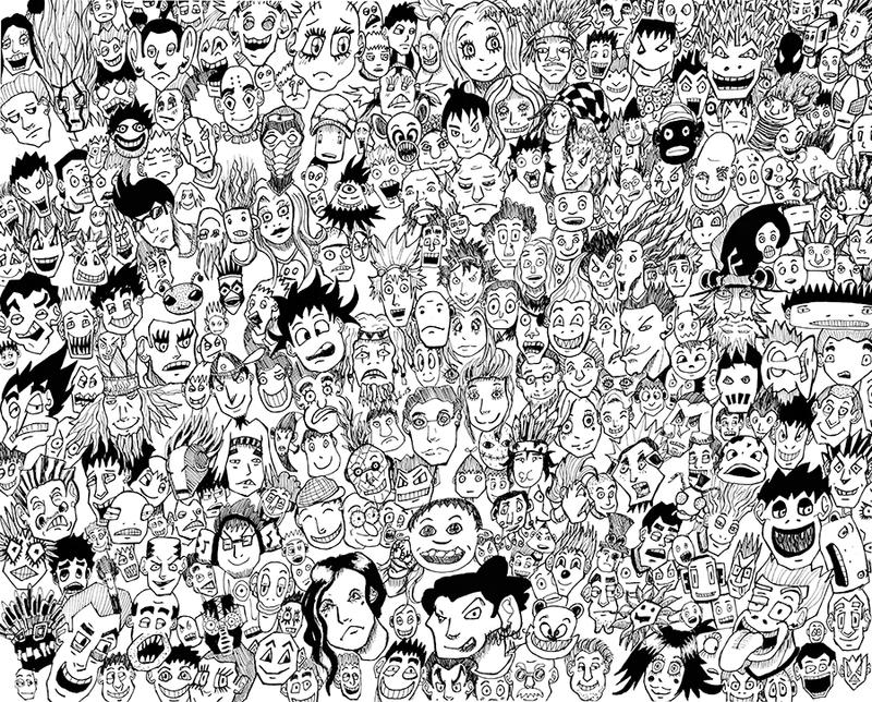 Doodle thousand faces by n1njakees on deviantart for Doodle art faces