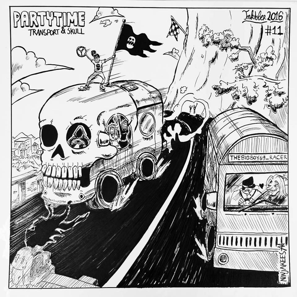 INKTOBER 11 - Transport and Skull