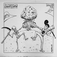 INKTOBER 14 - Tree and Dancing Skeleton by N1NJAKEES