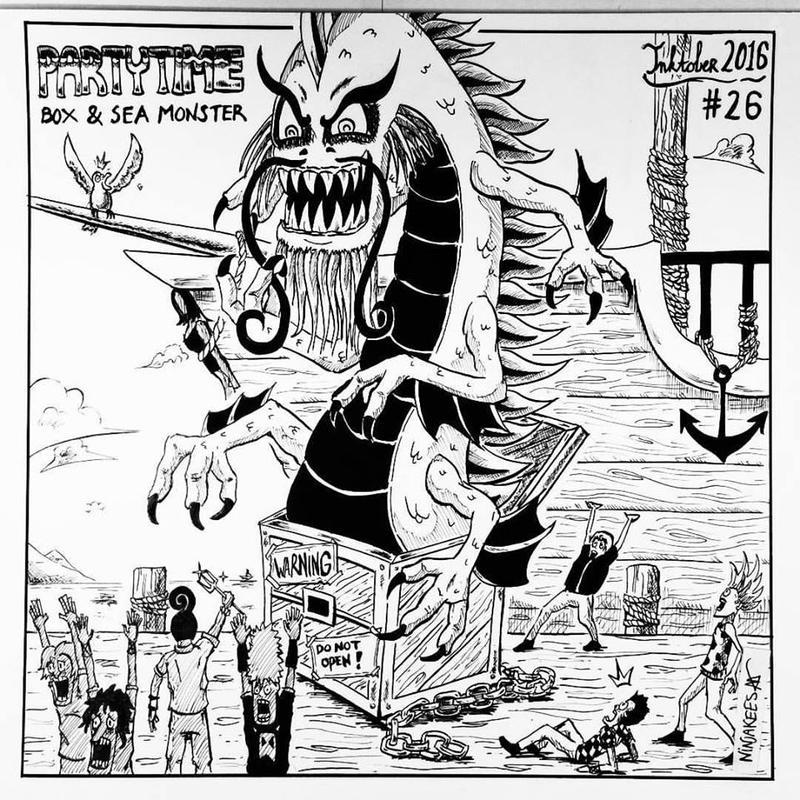 INKTOBER 26 - Box and Sea Monster