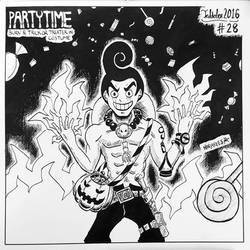 INKTOBER 28 - Burn and Trick or treater in costume