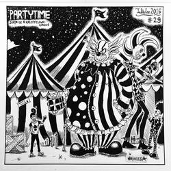 INKTOBER 29 - Surprise and Creepy Clown-Circus by N1NJAKEES