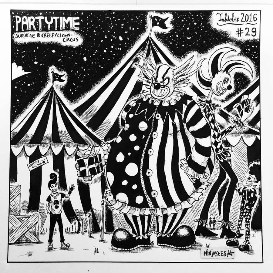INKTOBER 29 - Surprise and Creepy Clown-Circus