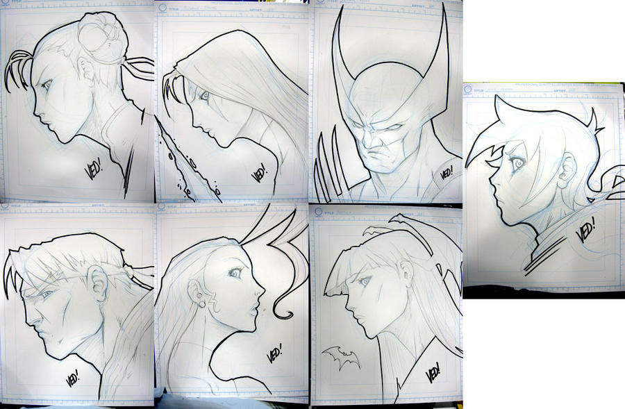 SDCC 2012 head sketches 1 by E-V-IL