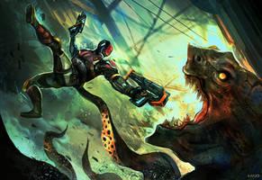 Commission: Monster Ambush by VincentiusMatthew