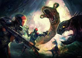 Commission: Jungle Beast Battle by VincentiusMatthew