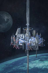 Commission : Space Station Concept by VincentiusMatthew