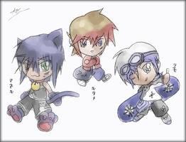 Maneki, Kitame, and Shimo by icycatelf