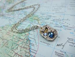 Steampunk Necklace Vintage Watch Movement Blue by dirtym0rf
