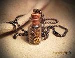 Steampunk Gears Glass Bottle Necklace
