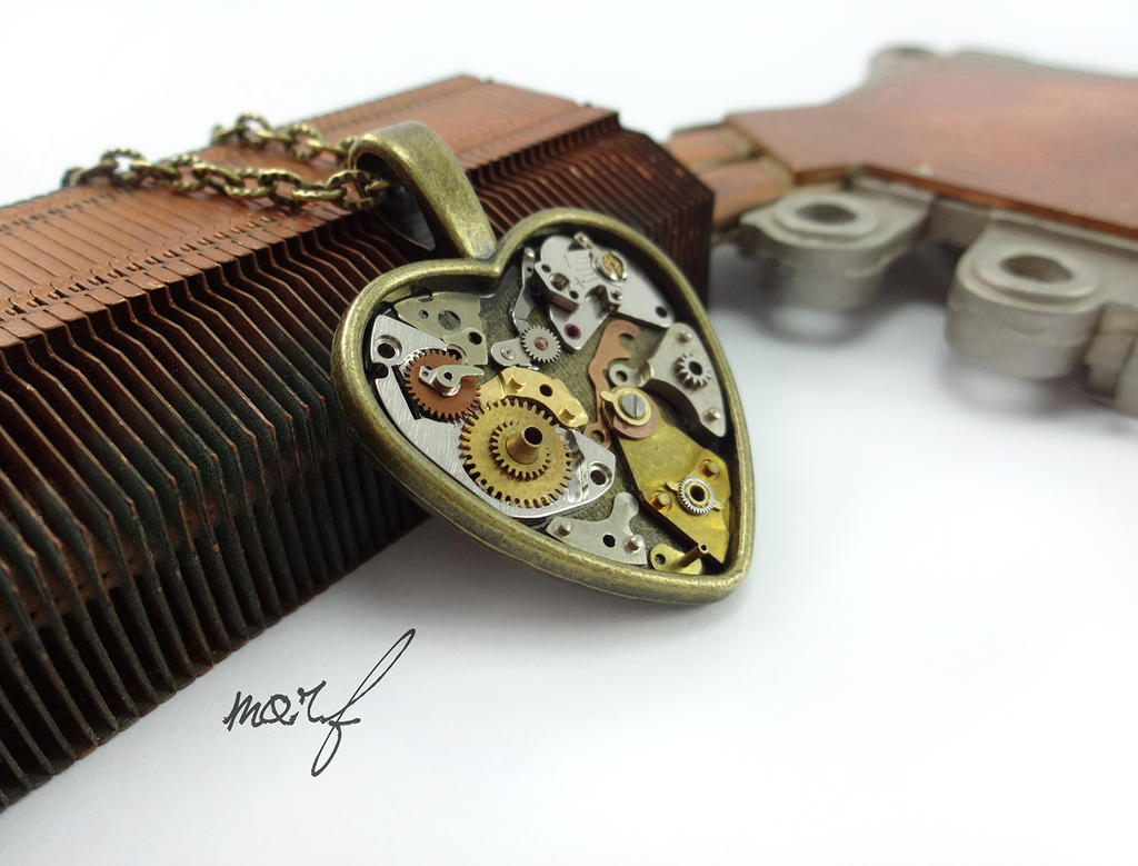 Steampunk Heart Necklace, Mechanical Industrial by dirtym0rf