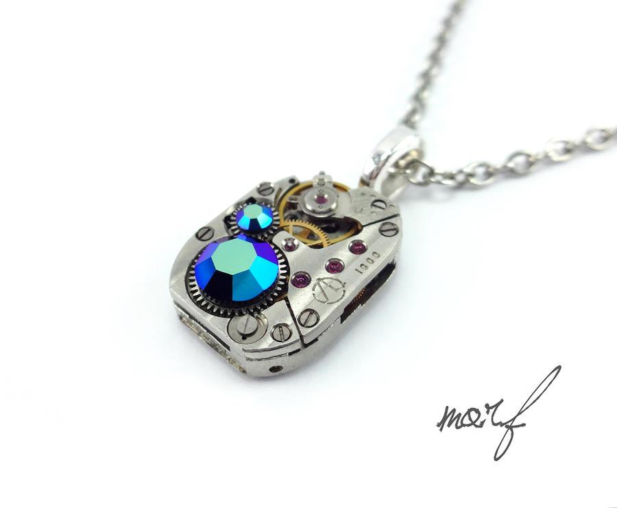 Steampunk Necklace Vintage Black Aurora Borealis by dirtym0rf
