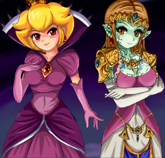 Evil side - Peach and Zelda by SigurdHosenfeld