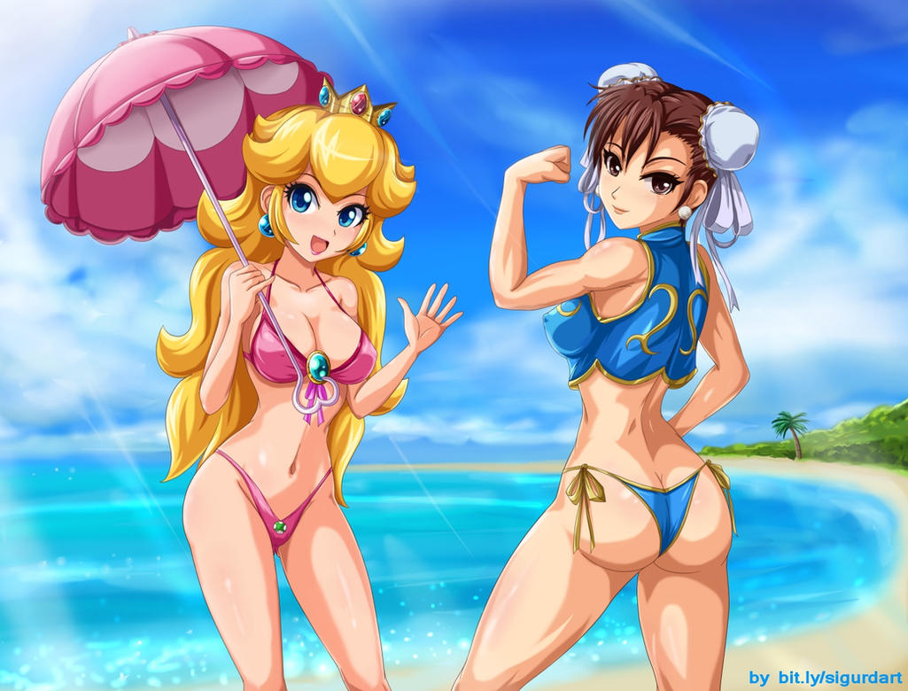 Peach and Chun-Li at the beach by SigurdHosenfeld