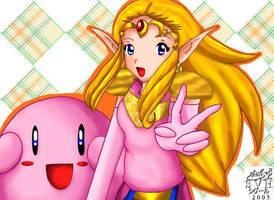 Zelda and Kirby by SigurdHosenfeld