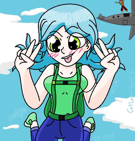 Kira skydiving 01 by CatLoverHegeX3
