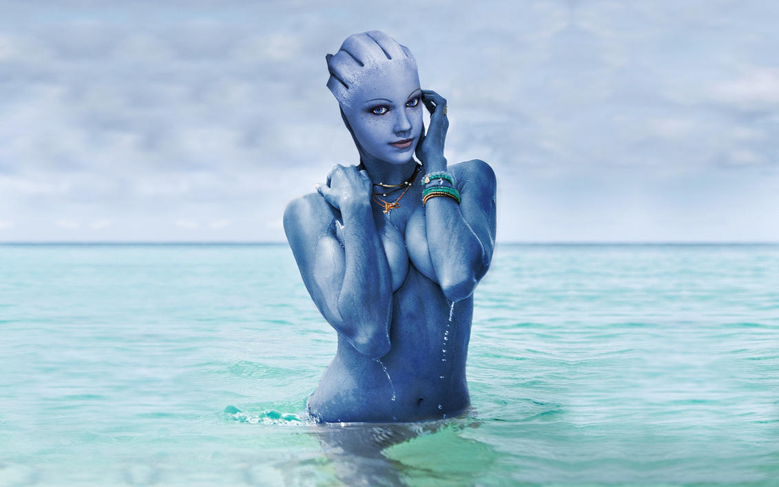 Liara rises from the sea by RenderEffect-Dan