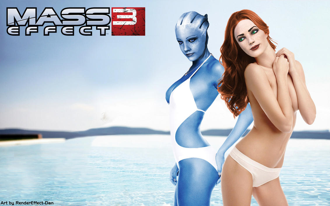Mass Effect Wallpaper with FemShep and Liara by RenderEffect-Dan