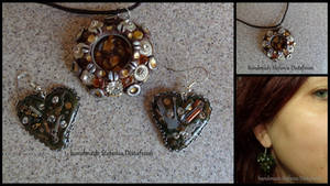 Pendant and Earrings Steampunk style