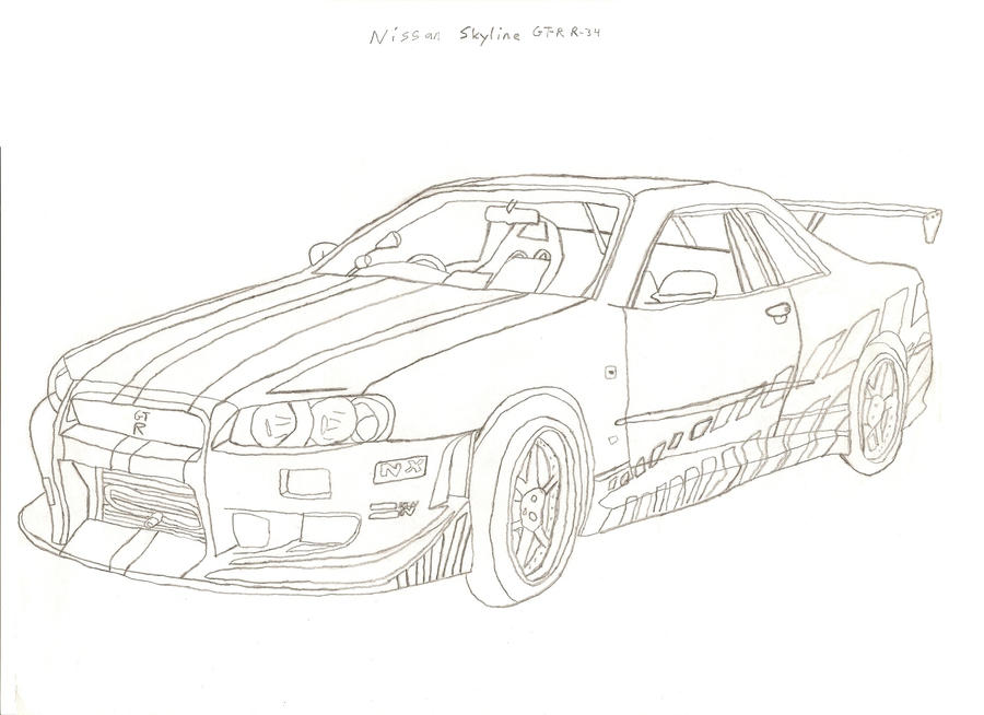nissan skyline gtr r34 free coloring pages