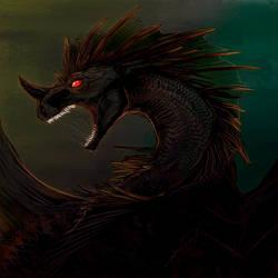 Speedpaint Test: Black Dragon by frisket17