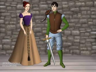 April and Leonardo as Tudors. by UsagichanBR