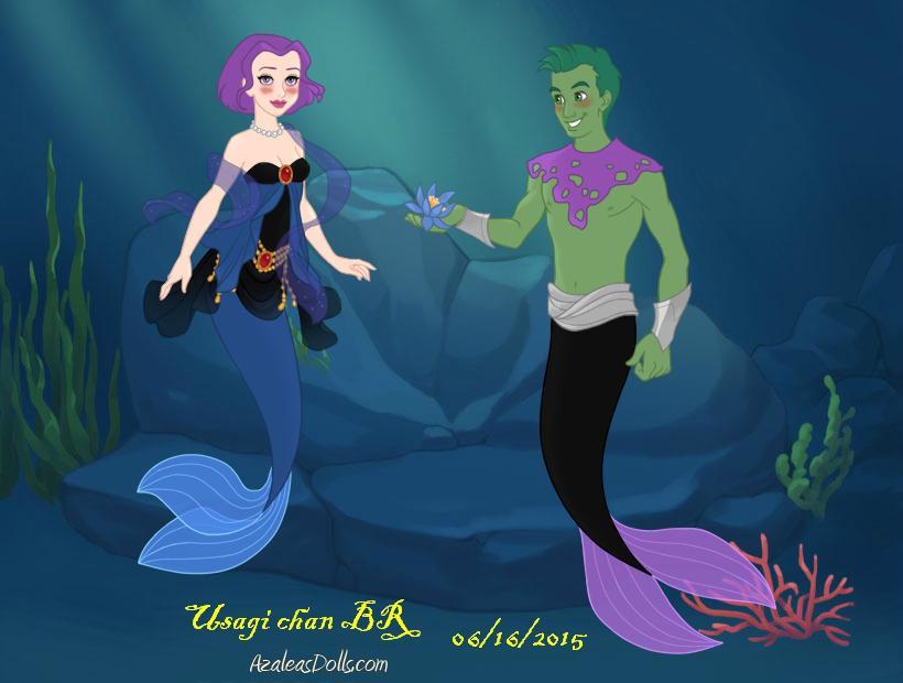 Mermaid Scene Raven And Beast Boy By Usagichanbr On