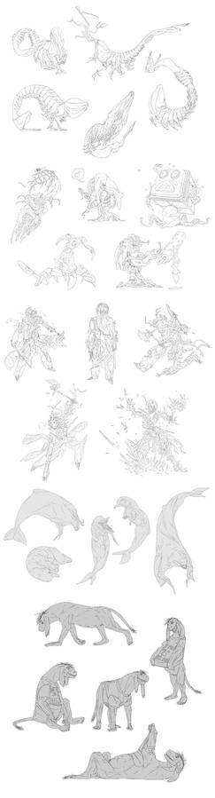 Sketch sheet commissions (2019)