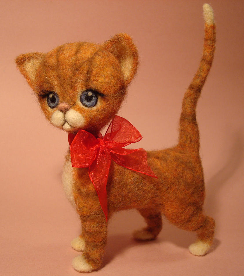 Needle Felted Cat by ZadaCreations