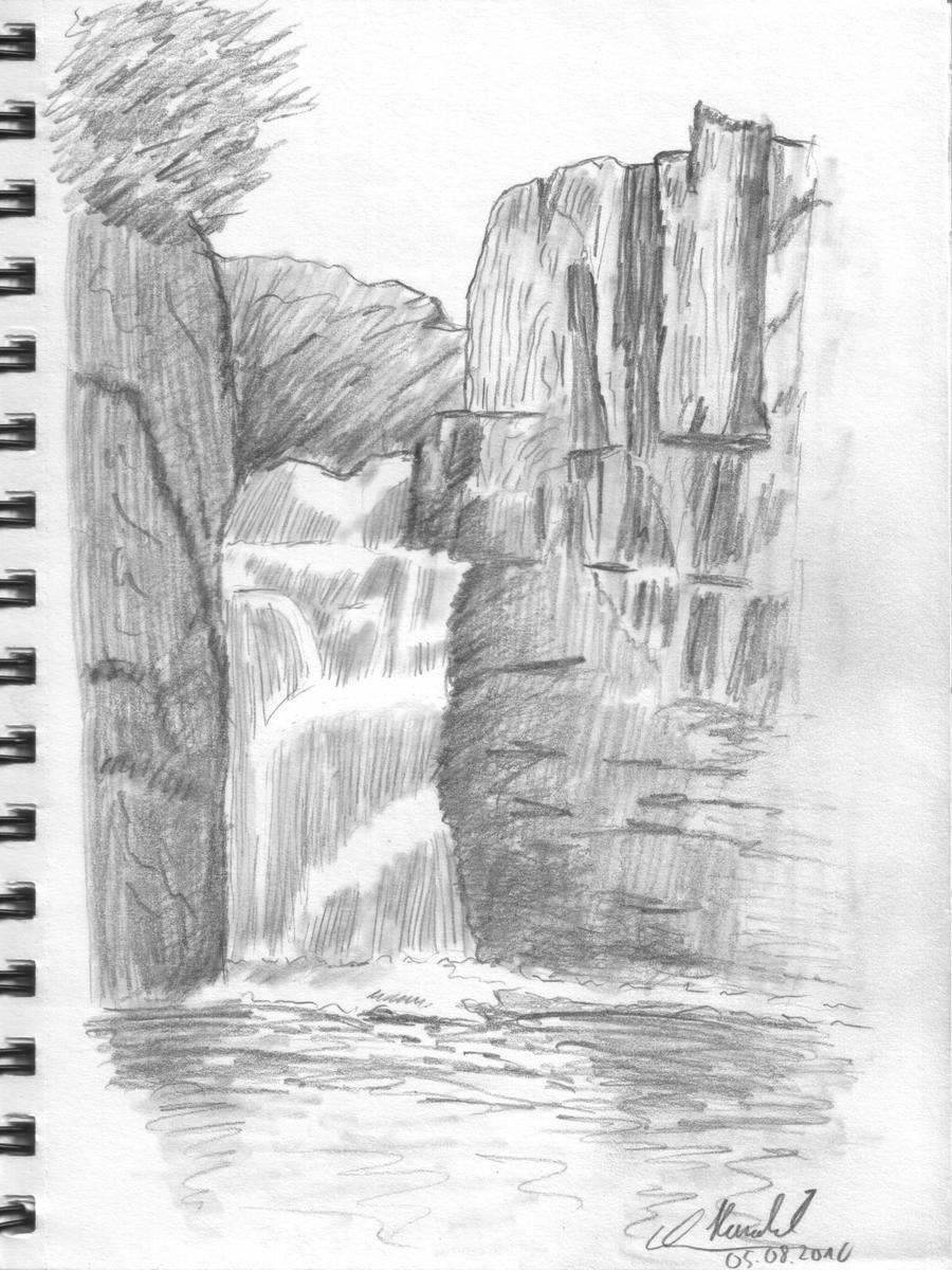 Line Drawing Waterfall : Drawing lesson waterfall by haraldelsen on deviantart