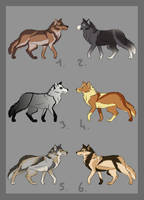 Wolves adoptables -CLOSED- by Chippie18-Adoptables