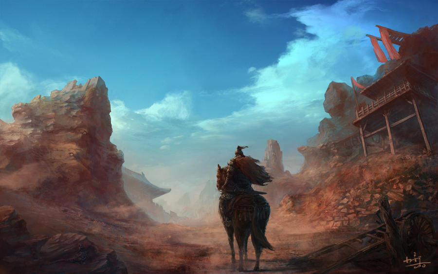 Riding Alone by xiaoxinart