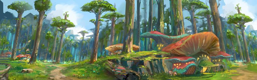 Mushroom village by xiaoxinart