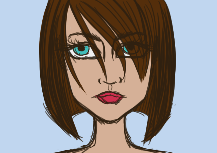 Photoshop Head Sketch Flat Colour by Mitsu-Chiruno