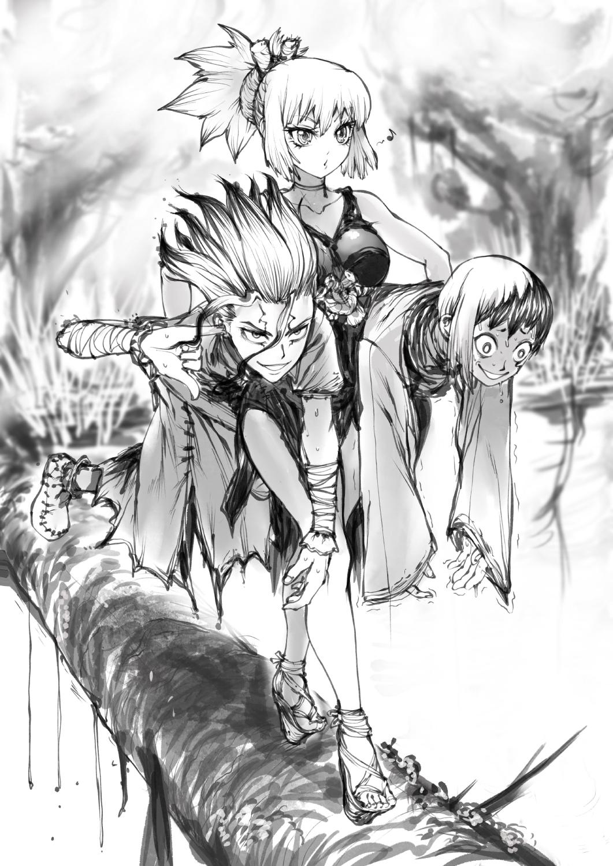 Senku Kohaku And Gen Dr Stone By Thegoldensmurf On Deviantart