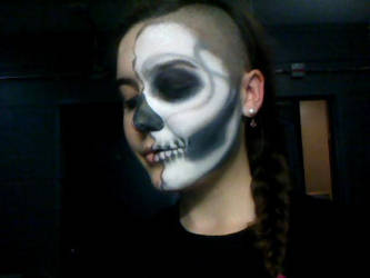 Half Face Skull by RayneFisher