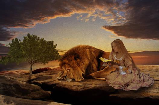 Reading to Aslan oil painting