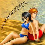 Ichigo and Rukia at the Beach