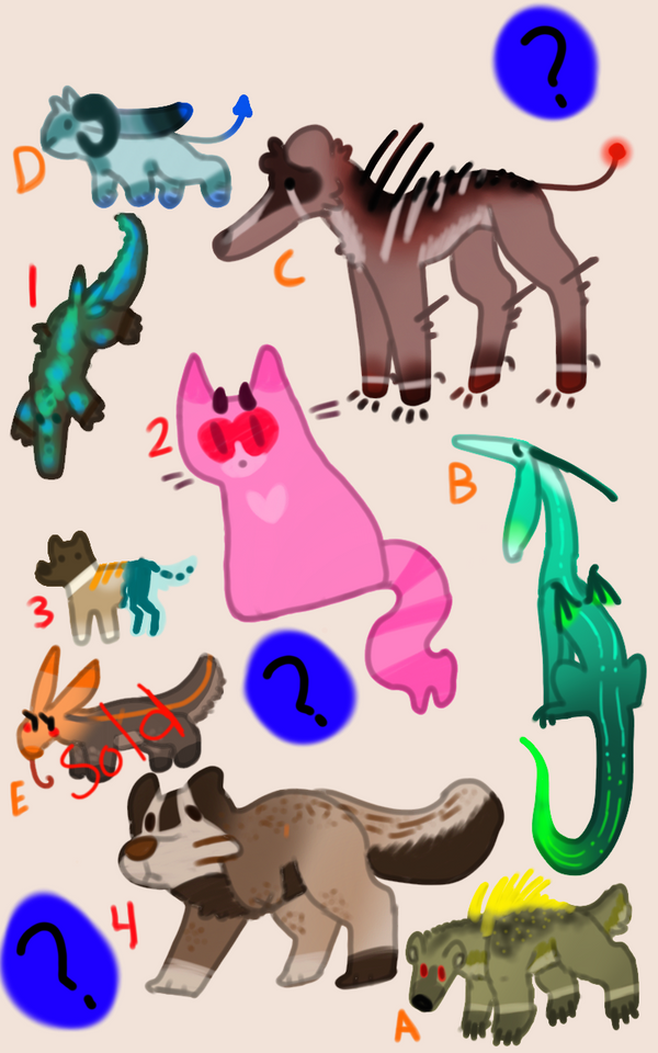 Doodle monsters Adopts PRICE LOWERED (Open) by Qwnzch