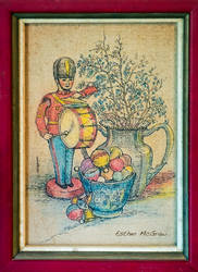 Tin Soldier with Silver Vase and Xmas Ornaments