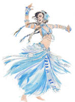Blue Tribal Belly Dancer by JenJens-Journey