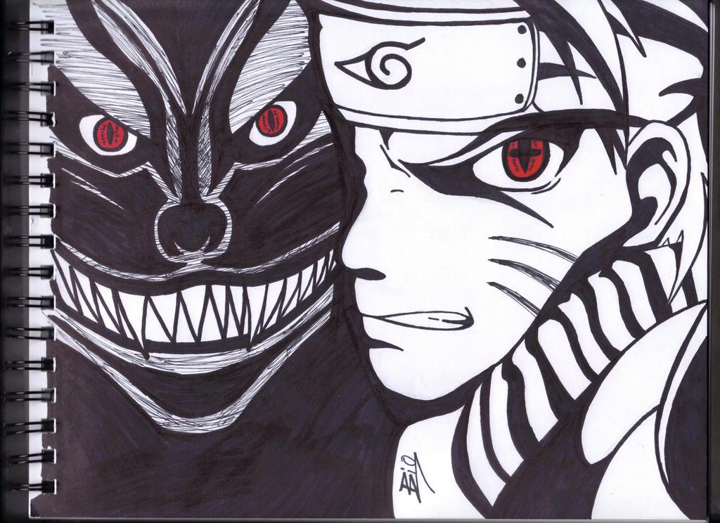Naruto Kyuubi Drawing Sharpie By Biohazardisonline